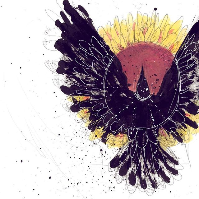 RAVEN MORN The raven came at daylight's death, It cawed and crowed then it left. The sunflower bloomed the following morn, Thus the raven's death was born.