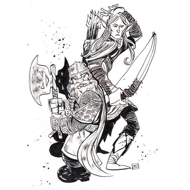 Gimli and his best bud Legolas. # # Drawn using @artemscribendi's awesome pen holder and @pentelofam