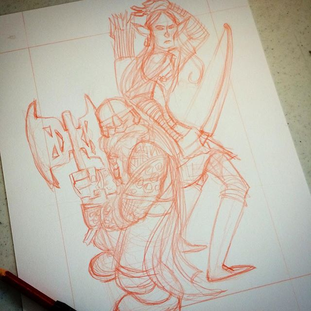 Gimli and Legolas in progress: For a limited time I've lowered my commission prices. $25 BW (2 spo