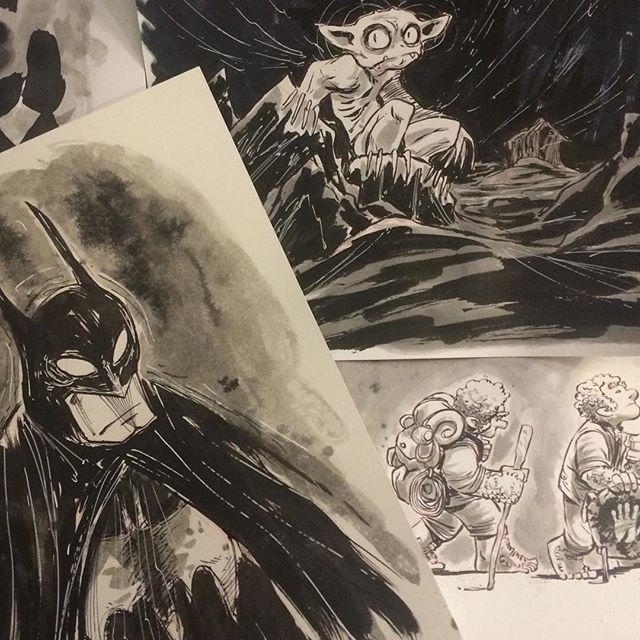 Art in various stages. For a limited time I've lowered my commission prices. $25 BW; $50 some color (livestream) http://rndm.us/jms # # Drawn using @artemscribendi's awesome pen holder and @pentelofamerica # #